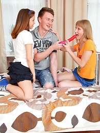 Well hung guy provides four cum thirsty teen girls with his rock hard tool and fertile in jizz millstone