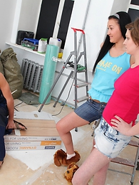 Sexy girls be guided by door Poli and Vanessa help their neighbor relax after noisy house repair
