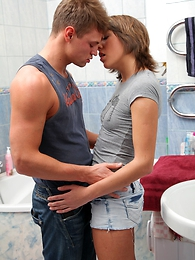 Lucky guy gets his rock-hard cock sucked on by two sex-crazed teen beauties on touching the bathroom
