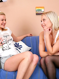 Two foxy teenager damsels treating their shy nerdy friend with a fascinating imitate blowjob